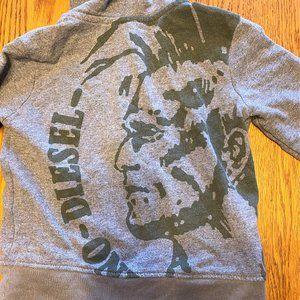 Boy's Sz 4 Diesel Grey/Green Hooded Zip Jacket